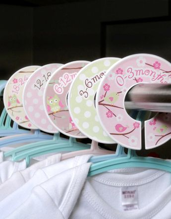 Baby Closet Dividers  -  Baby Clothing Dividers - Sweet Birds and Owls