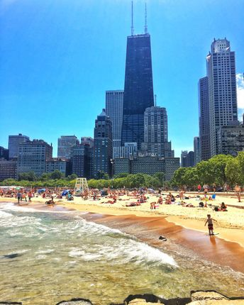 Oak Street Beach, Chicago Beaches, Hancock Building, Skyscrapers, Chicago Skyline, Chicago Photography, City Photography, Chicago Prints