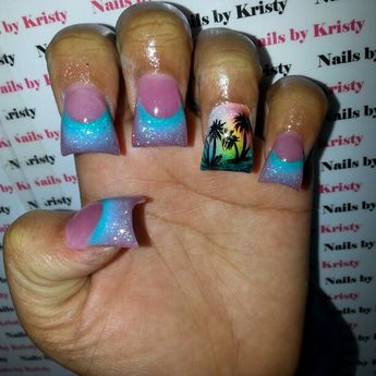 Curved Thick C Cut Acrylic Glitter Paradise Airbrush And Hand Painted Palm Tree Nail Art Nails