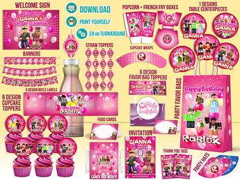 Roblox Party Supply DOWNLOAD ONLY Girl Decorations Inivtation Printable