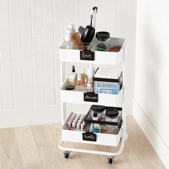 White 3-Tier Rolling Cart
