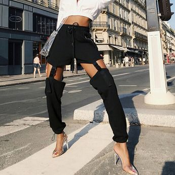 Cut Out Cargo Pants NA01