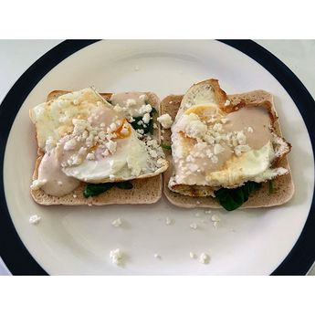 Week 2   Day 7   Breakfast Eggs Spinach Feta & Creamy Cheese Sauce On A Toasted Sandwich...  Week 2   Day 7   Breakfast Eggs Spinach Feta & Creamy Cheese Sauce On A Toasted Sandwich Thin ___________________________________________ 1x Sandwich thin = 99 calories 2x Freerange egg = 154 calories Spinach = 3 calories Creamy cheese sauce = 59 calories Feta = 24 Total calories = 339 calories ______________________________________ #liteneasy #healthy #health #lifestylechange #calories #caloriecounting