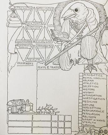 PDF printable Dungeons & Dragons 5th ed Character Sheet bun