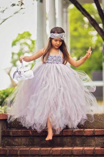 Gray Flower Girl Dress, Custom Flower Girl Dress
