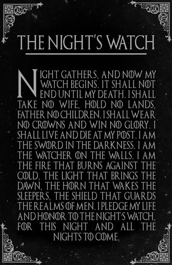 The Night's Watch Oath Game of Thrones Fantasy Pop Art #gameofthronesquotes
