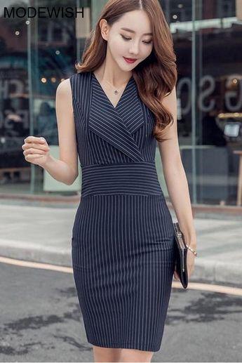 Work Stripe Lapel Collar Sleeveless Knit Sheath Dress
