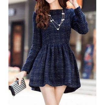 7c61c4446f Modern Style Checked Long Sleeves Color Block Worsted Round Neck Women s  Dress