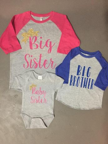 7d7c37828bb11 Matching sibling big brother big sister baby sister shirts perfect for pregnancy  announcement custom orders available