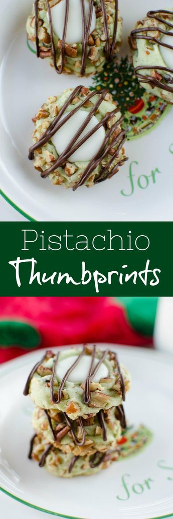 Pistachio Thumbprint Cookies  - pistachio cookies with vanilla filling and a chocolate drizzle! The perfect Christmas cookie!