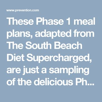 The South Beach Diet Supercharged Meal Plans