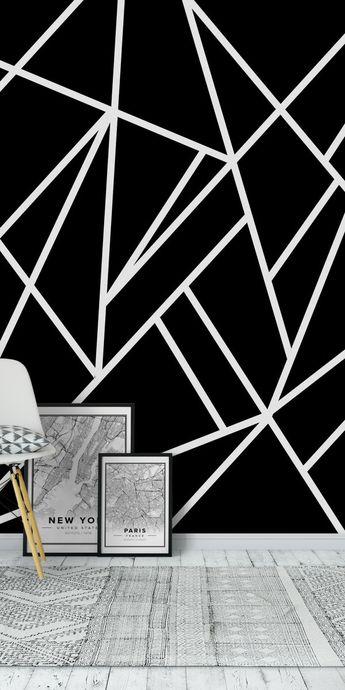 Classic Black White Geo 1 Wall Mural / Wallpaper Art