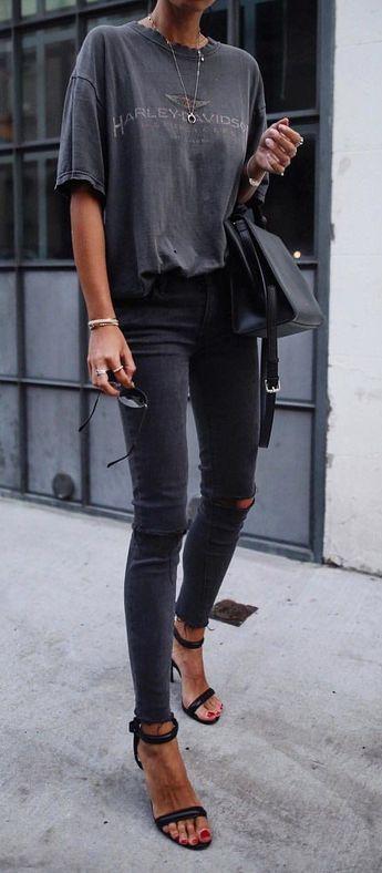 Bague de mariage : #fall #outfits womens black Harley Davidson crew-neck t-shirt distressed black