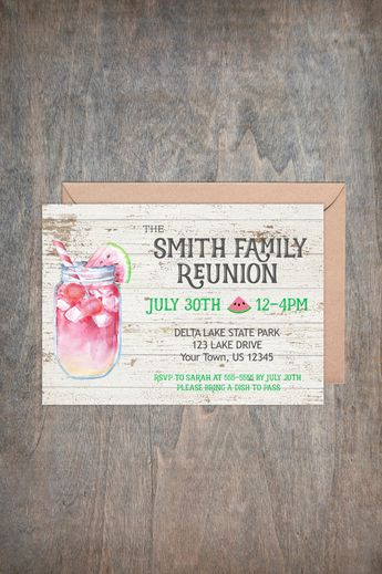 Family Reunion Invitation Memorial Day Picnic Labor Summer Party Adult Birthday BBQ Housewarming Printable