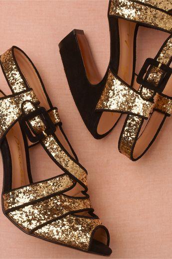 gold glitter + black trim from BHLDN