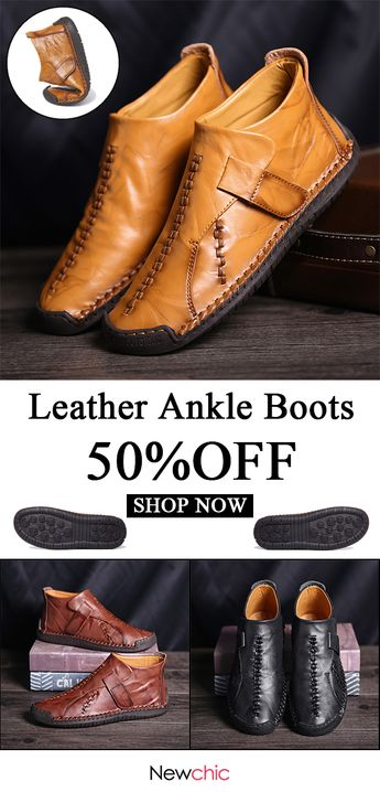 [50%off]Menico Large Size Men Hand Stitching Hook Loop Leather Ankle Boots #mensfashion #boots #leather