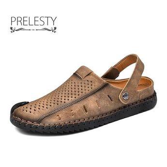 Prelesty Comfortable Men Sandal Shoes Soft Split Cow Leather Outdoor Professional