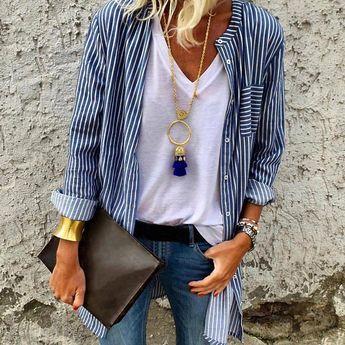 Women Button Down Striped Shirt