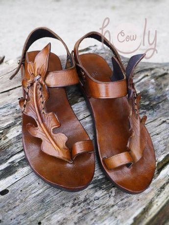 Handmade Brown Leather Leaf Sandals, Womens Sandals, Leather Sandals Women, Hippie Sandals, Cowgirl Sandals, Leaf Sandals, Boho Sandals