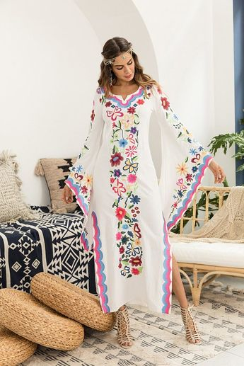 7dd64885af New Vintage Flared Long Sleeve Bohemian Multi Flower Embroidery Maxi Dress  New Vintage Flared Long Sleeve