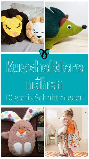 10 gratis Schnittmuster für Kuscheltiere - Katrin Kugnichso