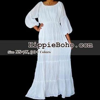 6e3eddbf80ff42 No.077 - Size XS-7X Hippie Boho Bohemian Gypsy White Long Sleeve Plus