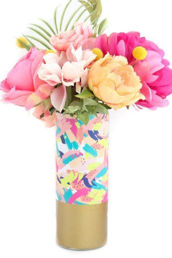 Abstract Brushstroke Flower Vase With Gold Base