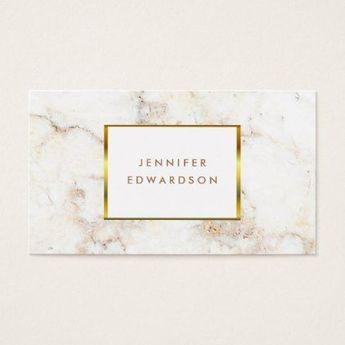 Simple elegant white gold marble professional business card   Zazzle.com