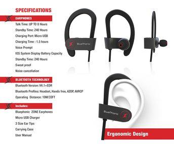 Phaiser BHS-730 Bluetooth Headphones Runner Headset Sport E