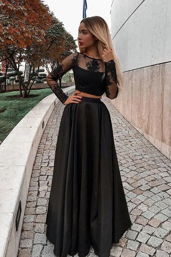 Two Piece Bateau Long Sleeves Floor-Length Black Prom Dress with Appliques