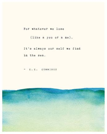 E.E. Cummings poetry art, for whatever we lose (like a you or a me), wall decor, poetry print, watercolor art