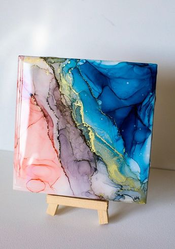 Pastel Dreams Mini: Alcohol ink art contemporary abstract painting fluid art resin tile