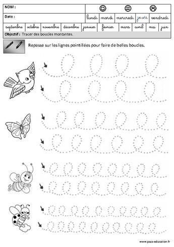 Boucles - Montantes - Graphisme – Maternelle – Grande section – GS - Pass Education