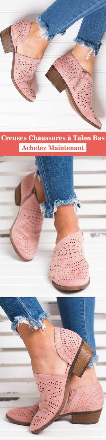 Creuses chaussures à talon bas