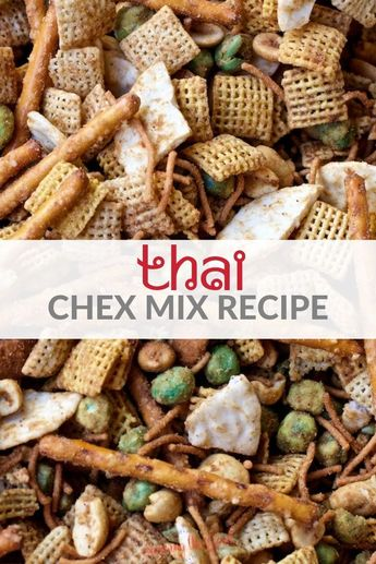 This homemade Thai Chex mix recipe is going to be your next favorite Chex mix! A twist on the classic Chex mix recipe, try my easy Thai flavored snack mix at your next holiday party, football tailgate or anytime you need a salty snack. #chexmix #chex #savorysnack #thai #easyrecipe