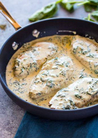 Creamy Parmesan Garlic Chicken Could large dice chicken into pieces and pour over pasta...