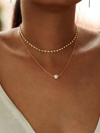 Faux Pearl Pendant Rhinestone Choker Necklace 2pcs -SheIn(Sheinside)