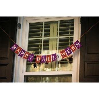 "Happy Halloween Front Porch Banner - 36"" x 4"" - Evergreen"