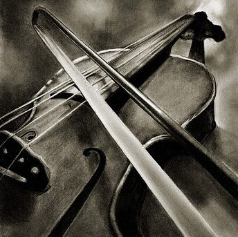 Violin...serenade (large) by Marsha Robinett Carbon Pencil ~ 12 x 11