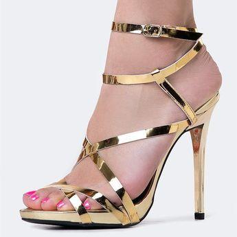501130ab74c5 Women s Gold Sexy Strappy Sandals Open Toe Stiletto Heels