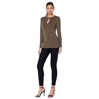 G by Giuliana Long-Sleeve Top with Keyhole Neckline - Ivory/Off White
