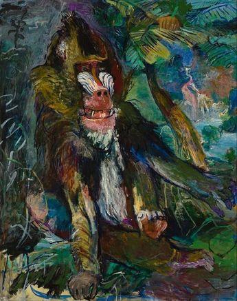 The Mandrill.  Painting by Oskar Kokoschka.