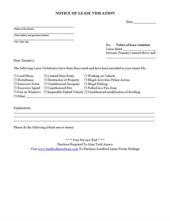 residential rental lease agreement late rent notice