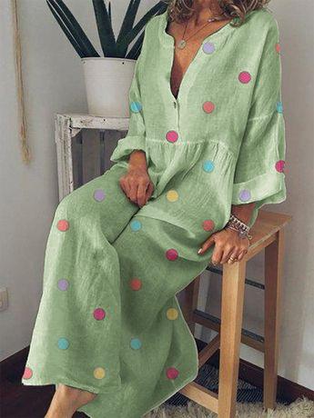 Vintage Printed Batwing Sleeve Irregular Hem Layered V-Neck Dresses