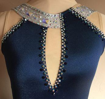 Ice Dancing Dress, Competition Ice Dance Dress, Foxtrot Dress, Blue Waltz Dress