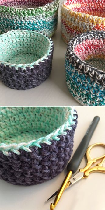 Double Double Baskets - Free Pattern (Beautiful Skills - Crochet Knitting Quilting)