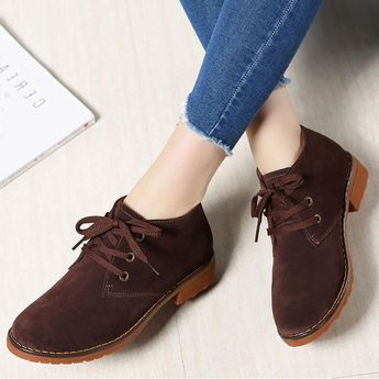 ea0c7737f83 Suede Ankle Boots Lace Up Casual Flats Women Shoes - 9 Blac