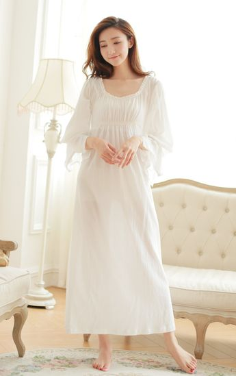 36661ac9cf5 Free Shipping 100% Cotton Princess Nightdress Women s Nightgown Long White  Pajamas Embroidery Sleepwear nightdress feminino