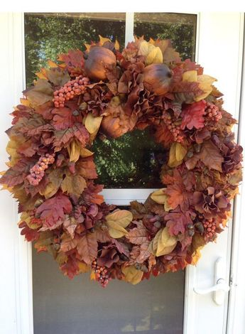 Sale!! Fall Wreath with Brown & Rust Pomegranates