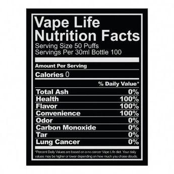 Vape Life Nutrition Facts Poster | Zazzle.com